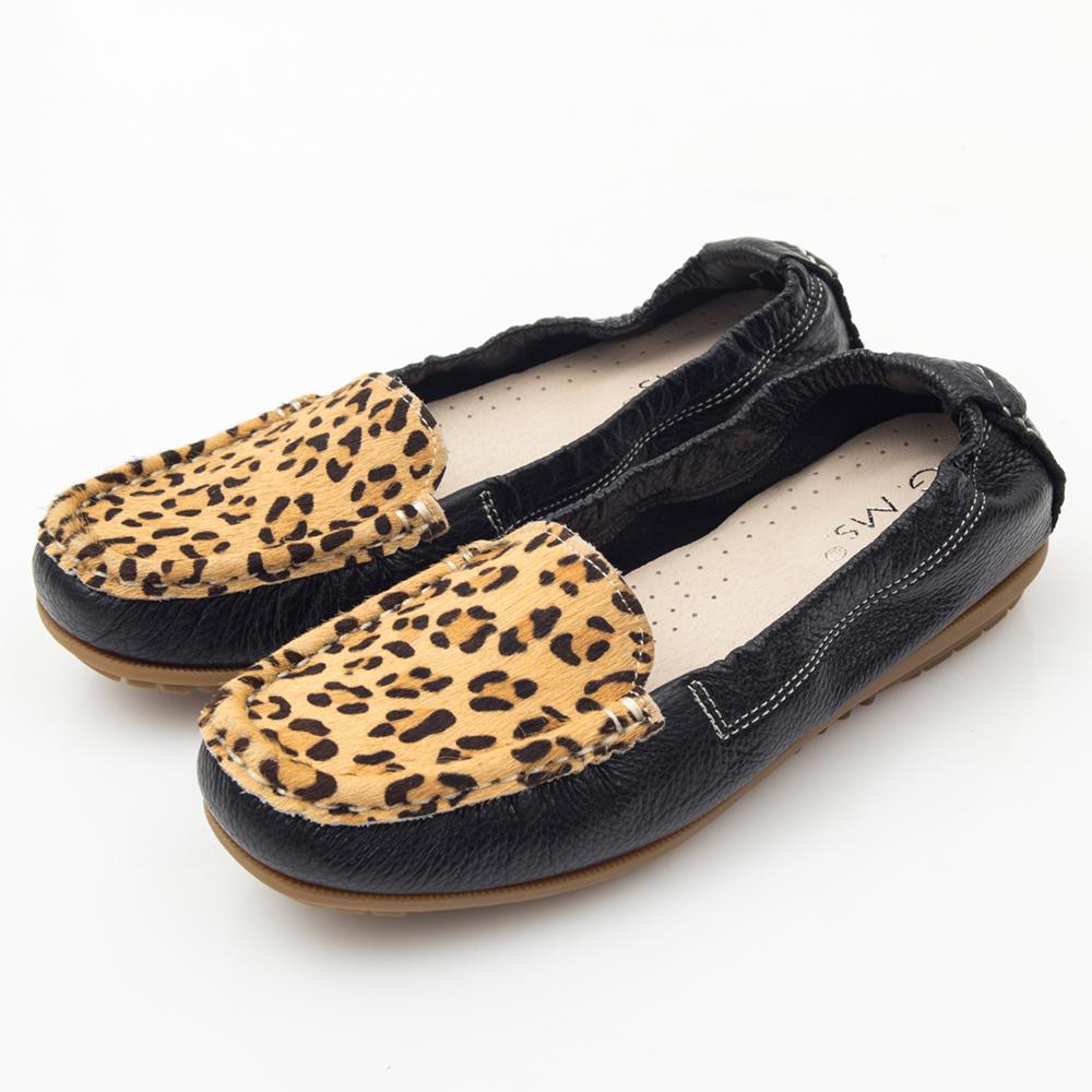 G.Ms. MIT系列-極好穿馬毛軟Q牛皮莫卡辛鞋-豹紋黑