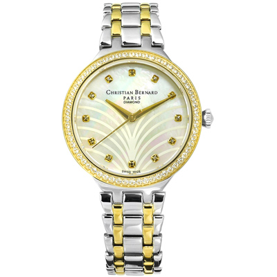 CHRISTIAN BERNARD 伯納錶 真鑽珍珠母貝不鏽鋼手錶-銀白x鍍金/35mm