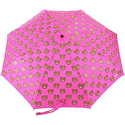 MOSCHINO Teddy Heads 泰迪熊圖案自動摺疊晴雨傘(桃紅色)