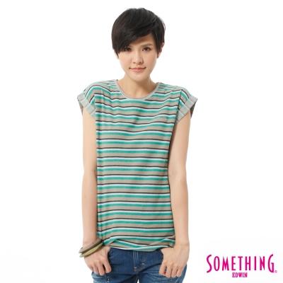 SOMETHING-T恤-城市輕旅條紋造型T-女-綠色