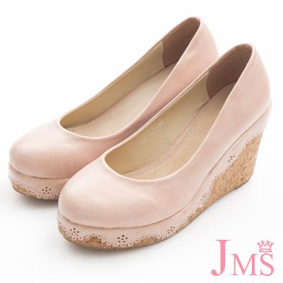 JMS-典雅素面花滾邊楔型娃娃鞋-粉色