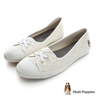 Hush Puppies 甜心蕾絲咖啡紗娃娃鞋-米白