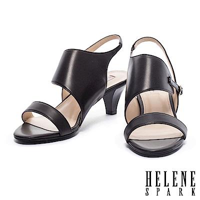 涼鞋 HELENE SPARK 流線剪裁異材質拼接後繫帶高跟涼鞋-黑