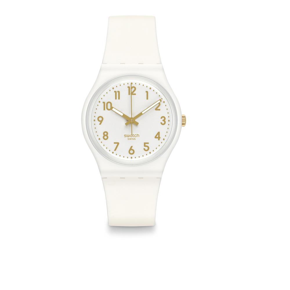 Swatch 原創系列 WHITE BISHOP 淨白金尚手錶-34mm
