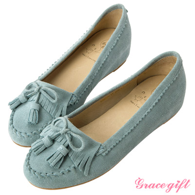 Grace gift-全真皮流蘇內增高莫卡辛鞋 淺藍