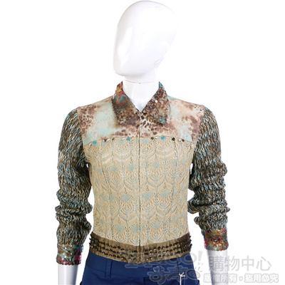 Tucat Chic 駝/綠色異材質拼接亮片外套