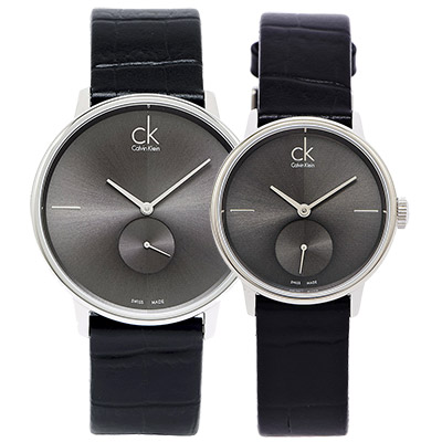 CK 優雅奢華黑小秒對錶(K2Y211C3.K2Y231C3)-灰黑/40+32mm