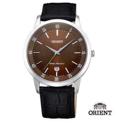 ORIENT 東方錶 SLIM系列 藍寶石鏡面石英皮帶男錶-咖啡色/ 39 mm
