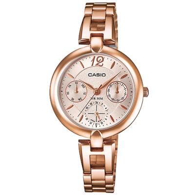 CASIO簡約巧小氣質玫瑰金時尚三眼指針腕錶(LTP-E401PG-9A)/30mm