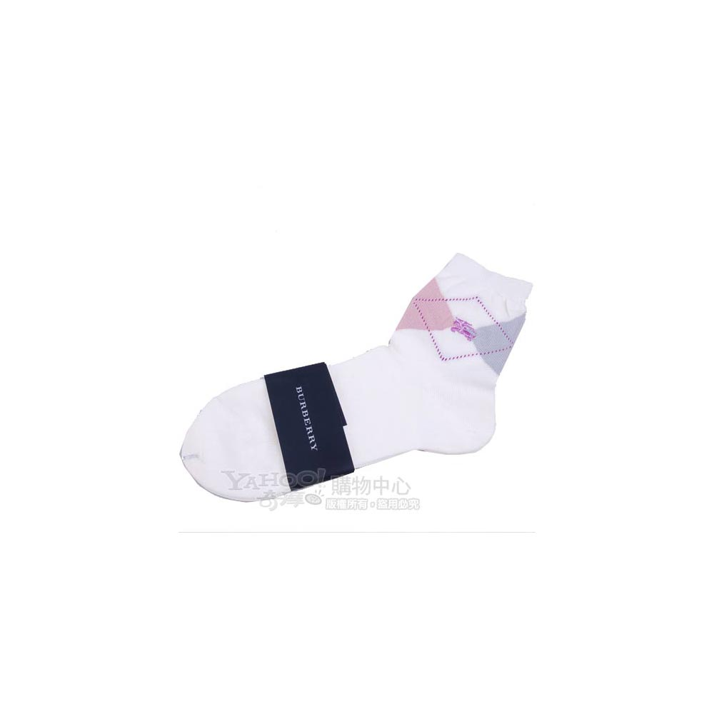 BURBERRY 蘇格蘭格紋女短襪(牙白/紫馬)