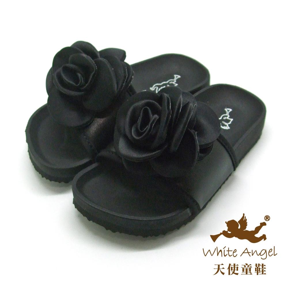 天使童鞋-J731 美不勝收親子拖鞋(中童)-典雅黑