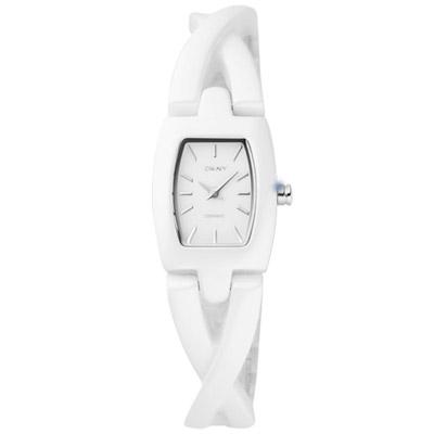 DKNY 唯美珍愛時尚陶瓷腕錶-白/20mm