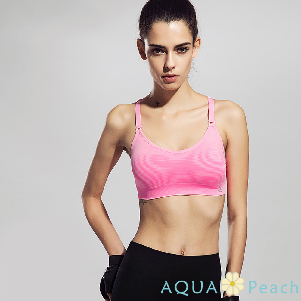 運動內衣 漸層色挖背式運動背心 (粉色)-AQUA Peach