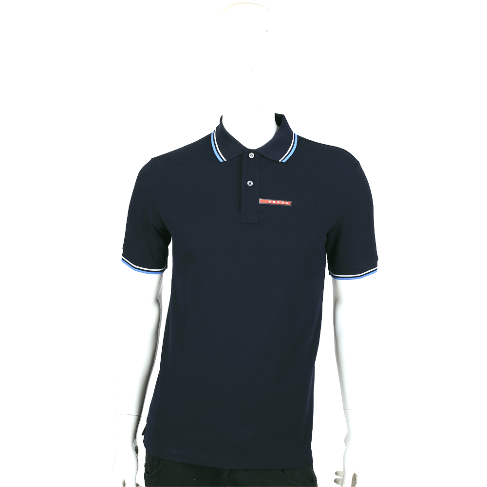 PRADA 黑藍色滾邊設計短袖POLO衫