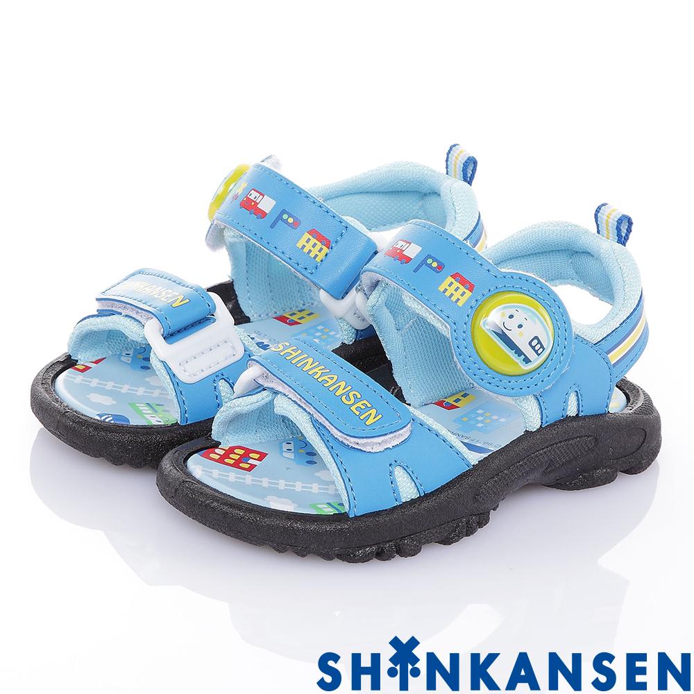 新幹線 舒適減壓防滑休閒電燈涼鞋童鞋-藍