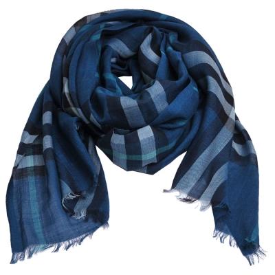 BURBERRY 經典格紋義大利製絲混羊毛披肩/圍巾(礦石綠)