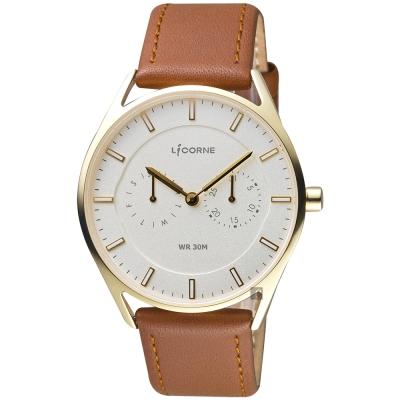 LICORNE 文青時尚日曆手錶-銀x金框x咖啡錶帶/40mm