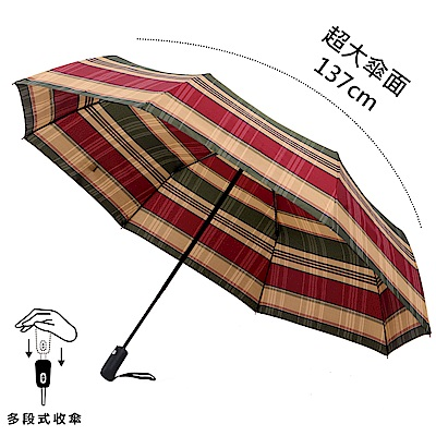2mm 超大!風潮條紋 超大傘面安全自動開收傘 (紅綠)