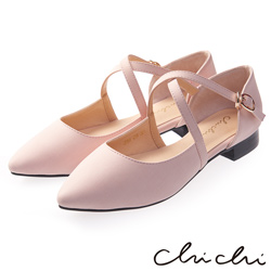 Chichi 優雅品味 交叉繫帶扣環尖頭平底鞋*粉色