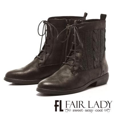 Fair Lady 特殊毛尼拼接綁帶粗跟短靴 黑