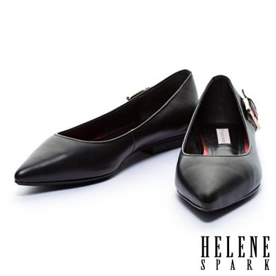 平底鞋 HELENE SPARK 金屬後釦環造型牛皮尖頭平底鞋-紅