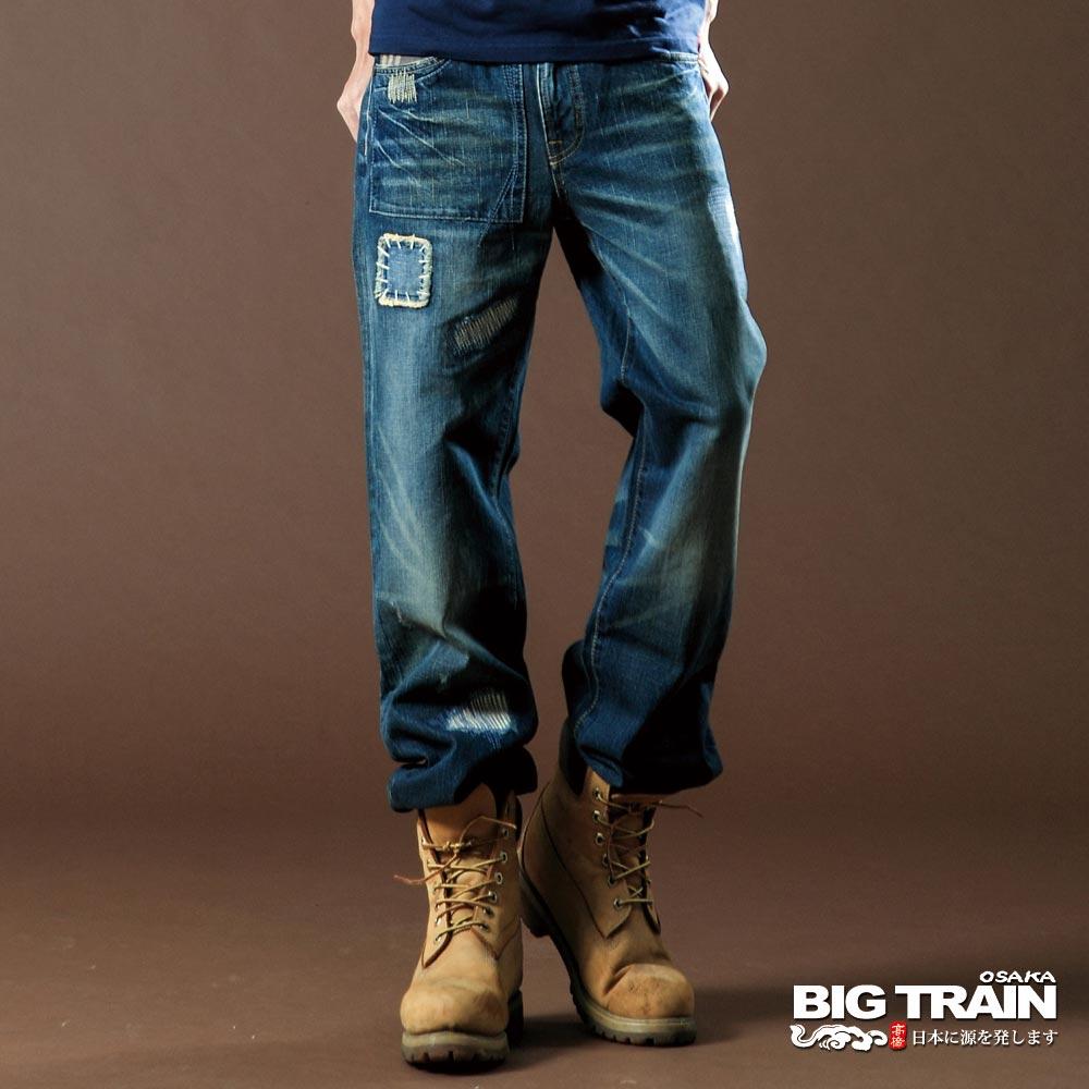 BIG TRAIN-格紋割破垮褲-深藍