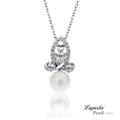 大東山珠寶 珍珠純銀晶鑽項鍊 絕對珍心