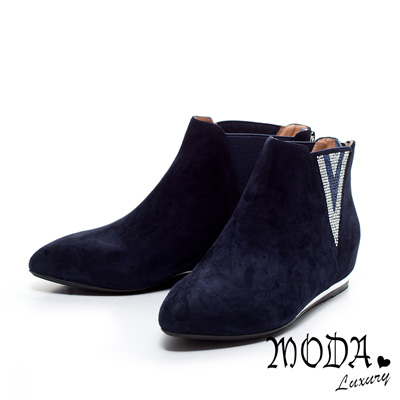 MODA Luxury V型排鑽造型羊麂皮內增高短靴-藍