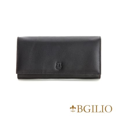 義大利BGilio - NAPPA軟牛皮中性釦式長夾-黑色 1607.315-05