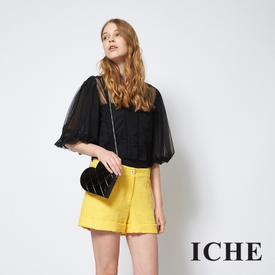 ICHE 衣哲 簡約百搭時尚亮黃造型短褲