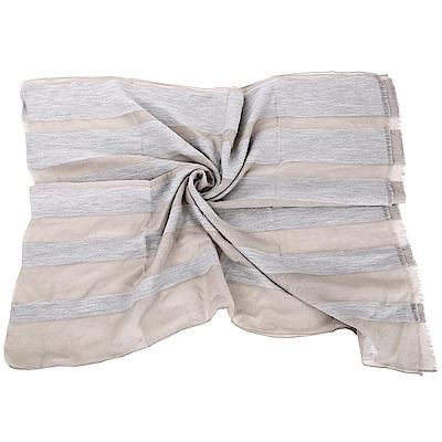 FABIANA FILIPPI 卡其色不修邊細節條紋拼接絲綢圍巾