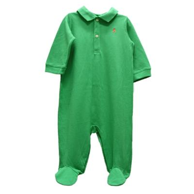 Ralph Lauren 經典刺繡POLO包腳連身衣-綠色(9M)