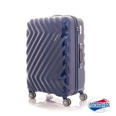 AT美國旅行者 24吋Zavis立體閃電防刮耐磨飛機輪硬殼TSA行李箱(靛藍)