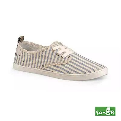 SANUK 率性不修邊條紋綁帶休閒鞋-女款(藍白色)