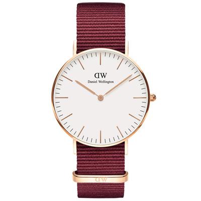 DW DanielWellington 經典風尚手錶-白X玫瑰金X紅帶/40mm