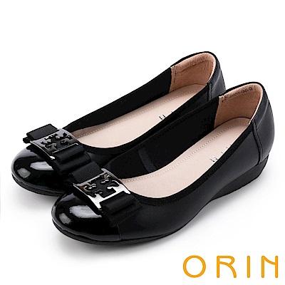 ORIN 輕熟魅力 經典五金飾釦牛皮娃娃鞋-黑色