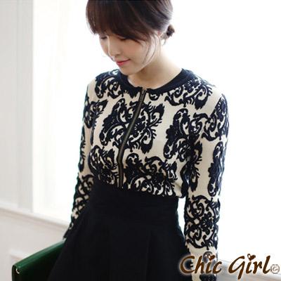 【Chic Girl】 華麗古典佩斯利花紋羊毛衫 (共二色)
