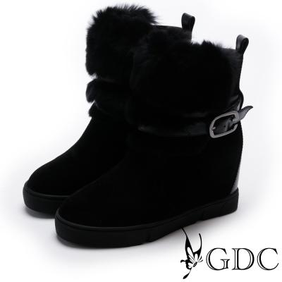 GDC-絨毛綁帶釦環麂皮短靴-黑色
