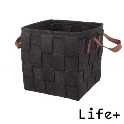 Life Plus 自然風編織毛氈收納籃/置物籃 (黑色-M)_快速到貨