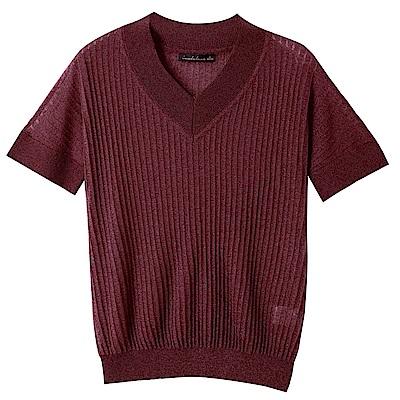 V領直坑條細針織短袖上衣