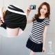 糖罐子-韓品 條紋連帽拼接領上衣+縮腰褲裙(
