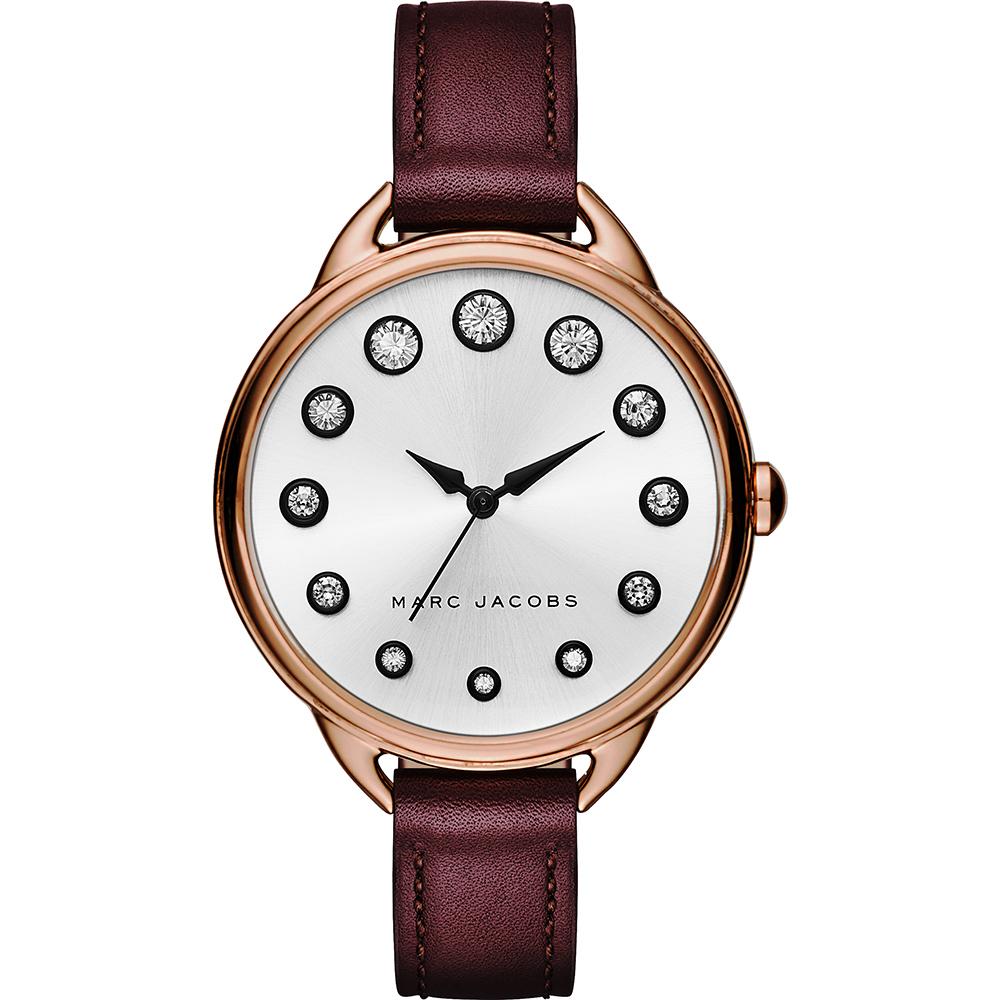 Marc Jacobs Betty 摩登晶鑽腕錶-玫瑰金框x酒紅/35mm