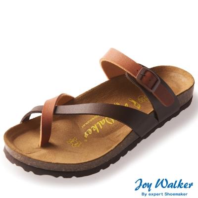 Joy Walker 素面交叉帶夾腳涼鞋* 咖駝色