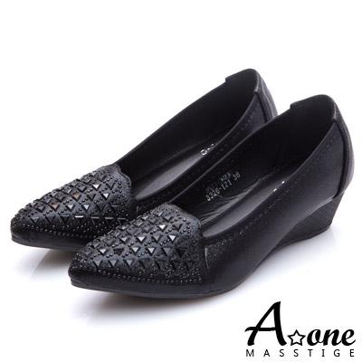 A-one-閃亮燙鑽尖頭楔型跟鞋-黑色