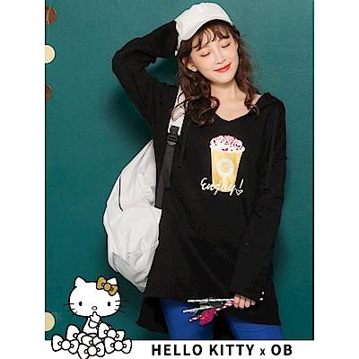 節慶KITTY內刷毛長版連帽上衣-OB大尺碼
