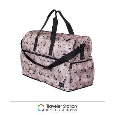 【HAPI+TAS 】貓咪蕾絲摺疊旅行袋(大)-米色