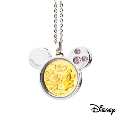 Disney迪士尼金飾 天生一對黃金/白鋼項鍊-粉紅