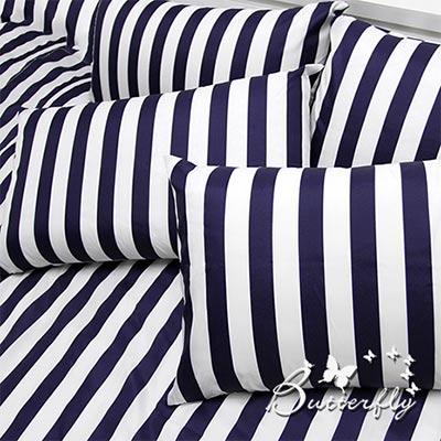 BUTTERFLY-極簡-藍-雙人三件式枕套床包組