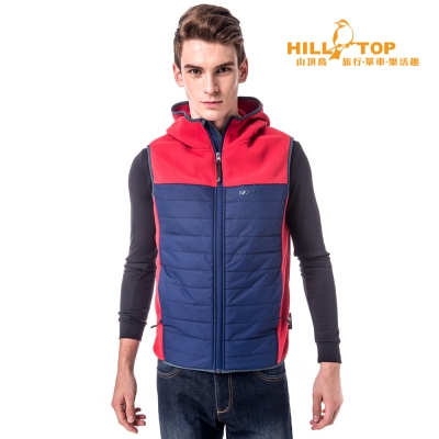 【hilltop山頂鳥】男款吸濕保暖刷毛背心H25M92紅/藍