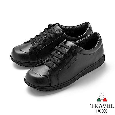 TRAVEL FOX(女) 乖乖的 超軟牛皮免綁帶舒適休閒鞋 - 聽話黑